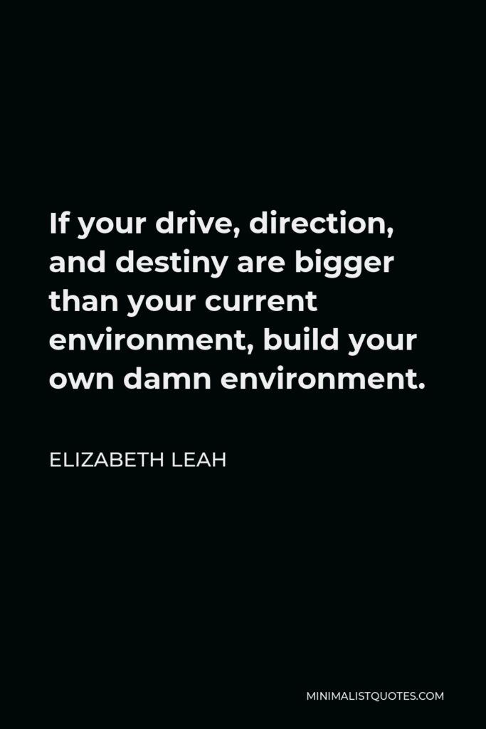 Elizabeth Leah Quote - If your drive, direction, and destiny are bigger than your current environment, build your own damn environment.