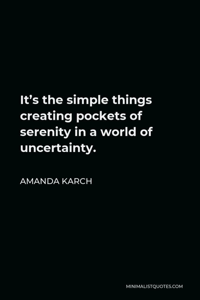 Amanda Karch Quote - It's the simple things creating pockets of serenity in a world of uncertainty.