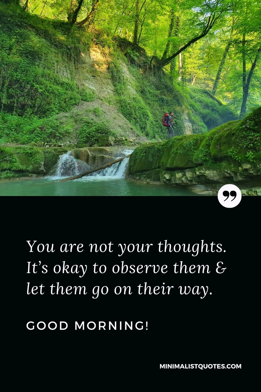 Let Go Morning Quote & Message: You are not your thoughts. It's okay to observe them & let them go on their way. Good Morning!