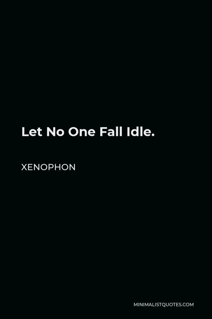 Xenophon Quote - Let No One Fall Idle.