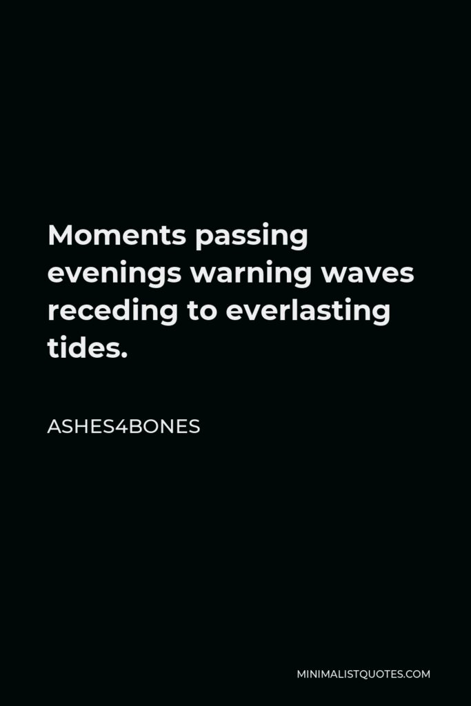 Ashes4bones Quote - Moments passing evenings warning waves receding to everlasting tides.
