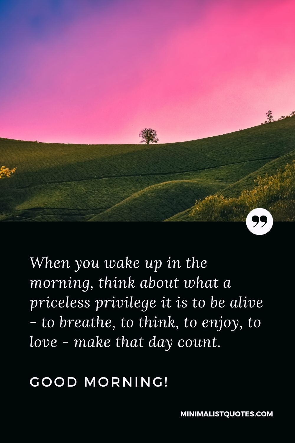 Good Morning Quote & Message: When you wake up in the morning, think about what a priceless privilege it is to be alive - to breathe, to think, to enjoy, to love - make that day count. Good Morning!