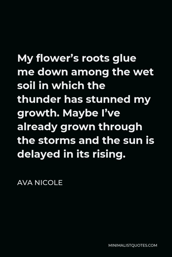 Ava Nicole Quote - My flower's roots glue me down among the wet soil in which the thunder has stunned my growth. Maybe I've already grown through the storms and the sun is delayed in its rising.