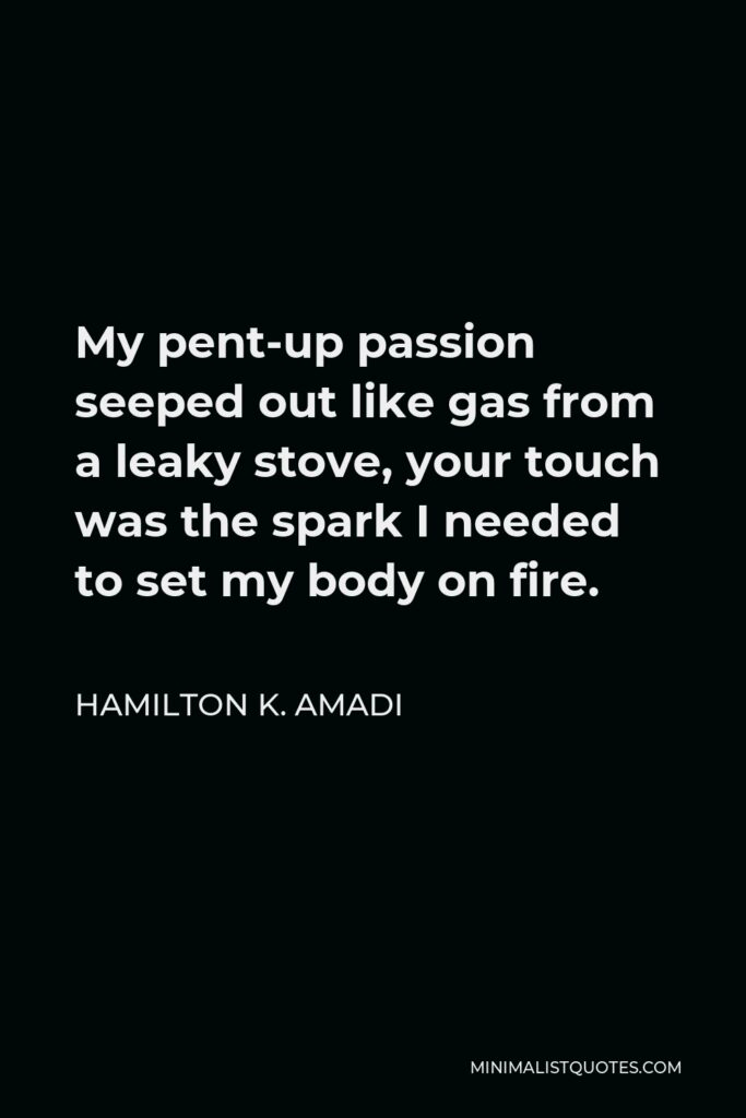 Hamilton K. Amadi Quote - My pent-up passion seeped out like gas from a leaky stove, your touch was the spark I needed to set my body on fire.