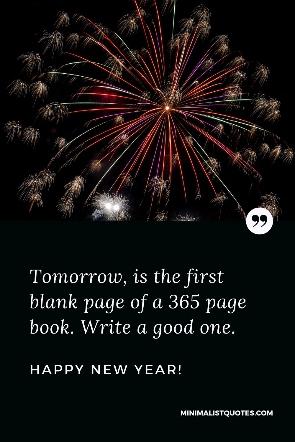 New year new beginning quote: Tomorrow is the first blank page of a 365 page book. Write a good one. Happy New Year!