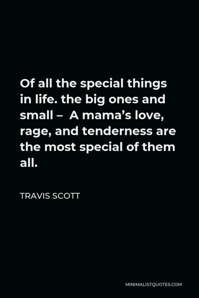 Travis Scott Quote - Of all the special things in life. the big ones and small – A mama's love, rage, and tenderness are the most special of them all.