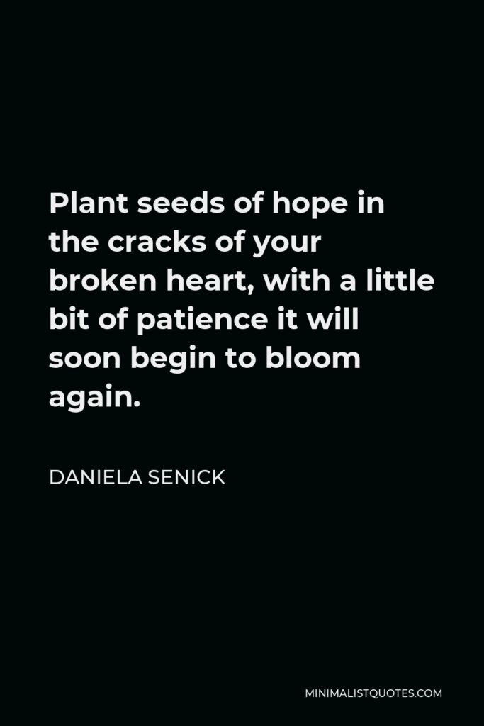 Daniela Senick Quote - Plant seeds of hope in the cracks of your broken heart, with a little bit of patience it will soon begin to bloom again.