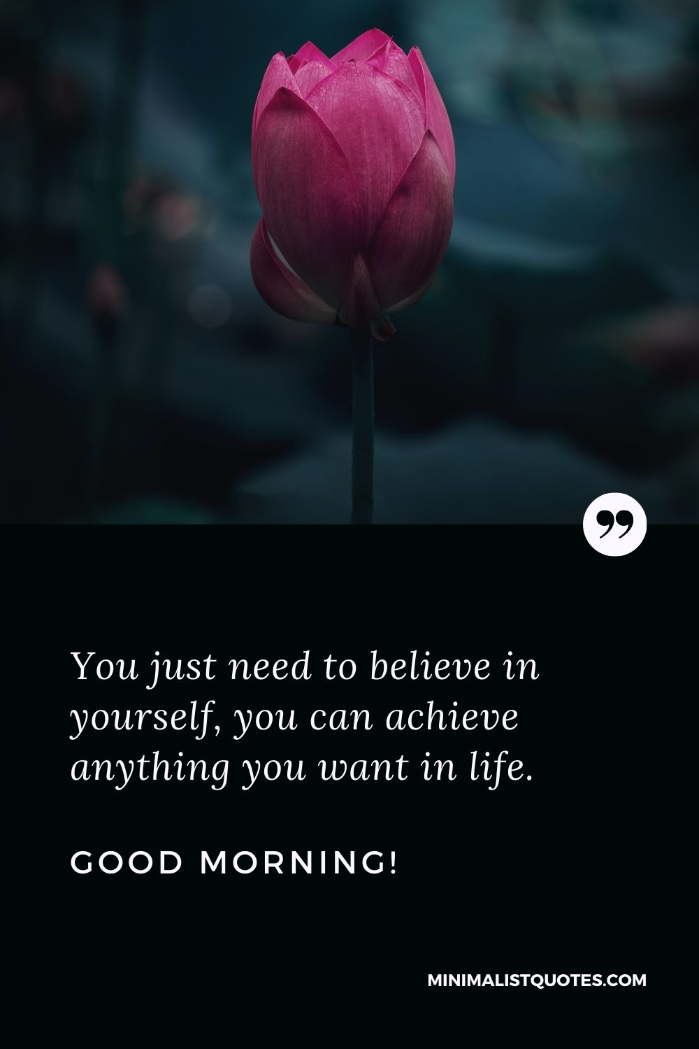 Positive Good Morning Message: You just need to believe in yourself, you can achieve anything you want in life. Good Morning!