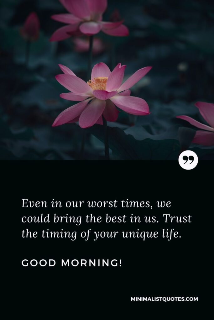 Positive Thinking Good Morning Quote: Even in our worst times, we could bring the best in us. Trust the timing of your unique life. Good Morning!