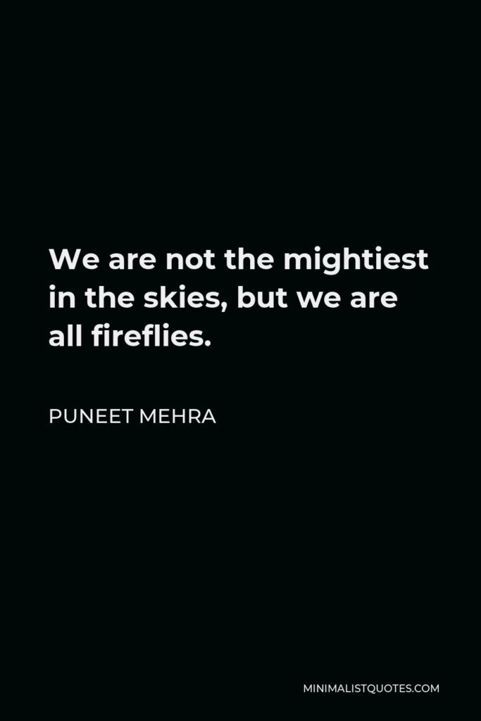 Puneet Mehra Quote - We are not the mightiest in the skies, but we are all fireflies.