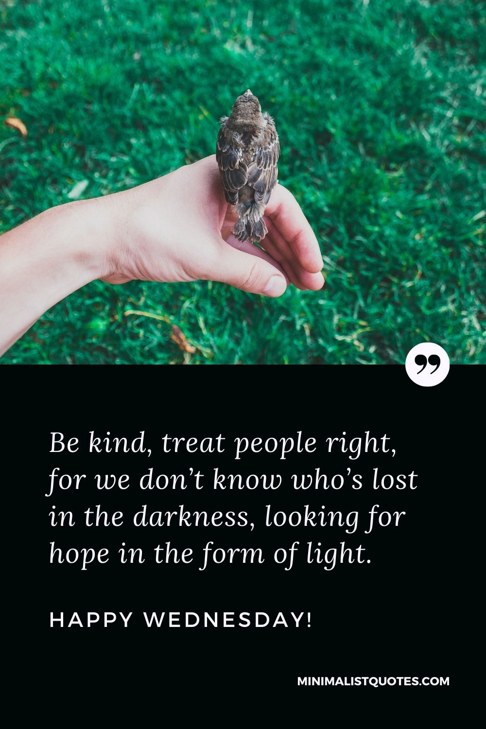 Wednesday Quote, Wish & Message With Image: Be kind, treat people right, for we don't know who's lost in the darkness, looking for hope in the form of light. Happy Wednesday!