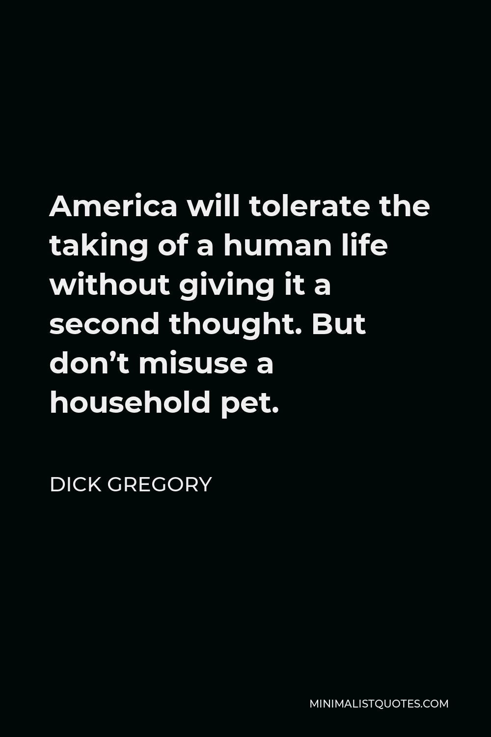 Dick Gregory Quote - America will tolerate the taking of a human life without giving it a second thought. But don't misuse a household pet.