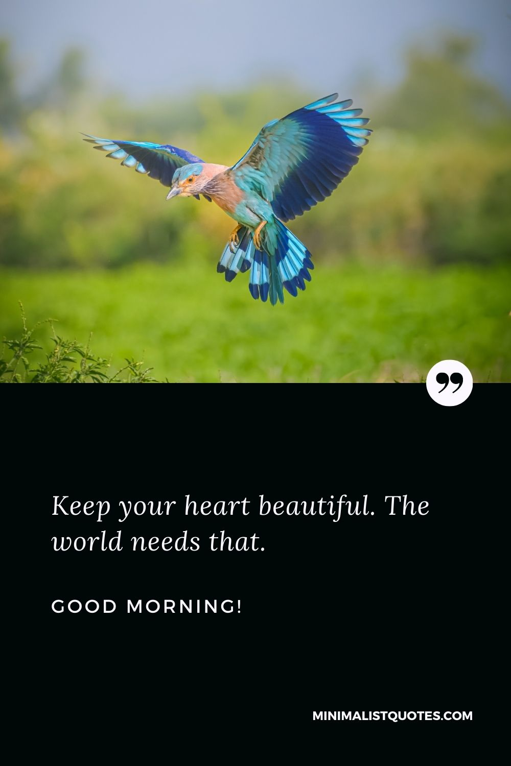 Beautiful good morning wishes: Keep your heart beautiful. The world needs that. Good Morning!