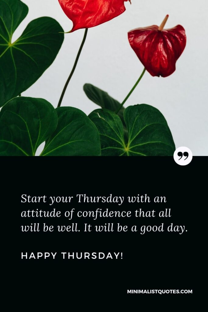 Good morning Thursday quotes: Start your Thursday with an attitude of confidence that all will be well. It will be a good day. Happy Thursday!