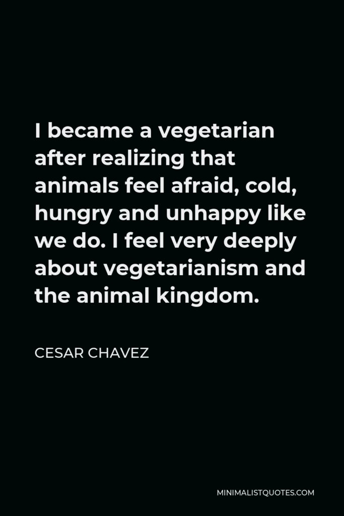 Cesar Chavez Quote - I became a vegetarian after realizing that animals feel afraid, cold, hungry and unhappy like we do. I feel very deeply about vegetarianism and the animal kingdom.