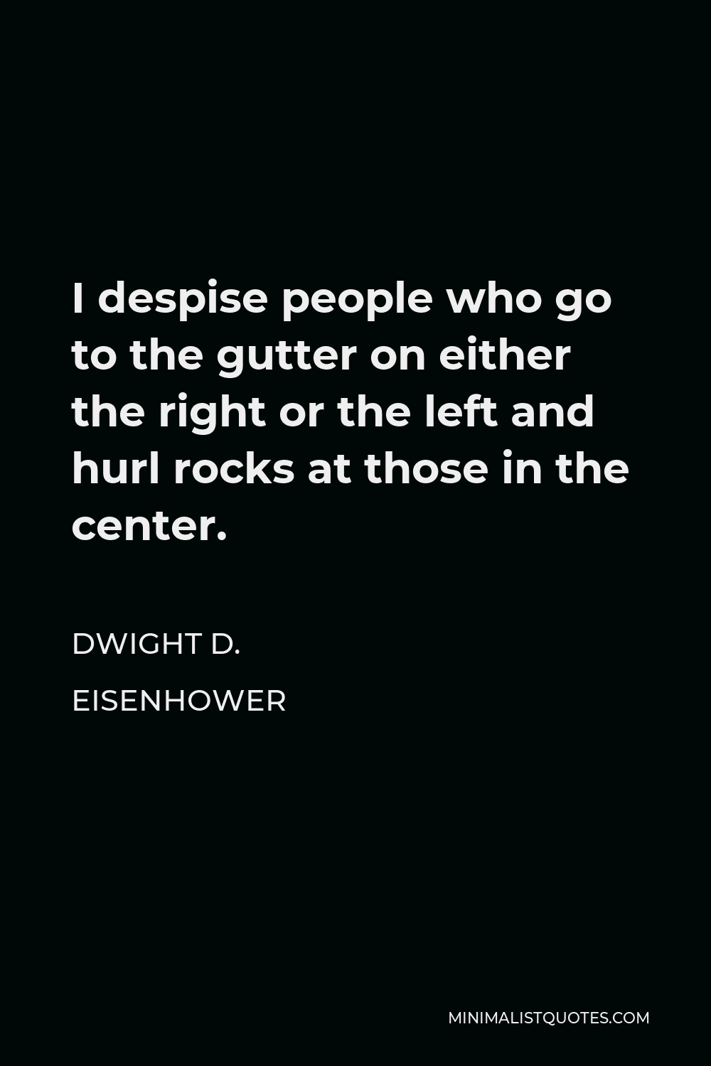 Dwight D. Eisenhower Quote - I despise people who go to the gutter on either the right or the left and hurl rocks at those in the center.