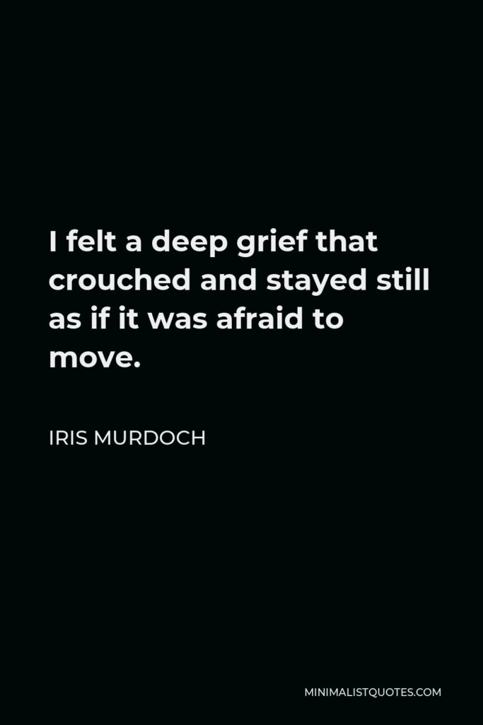 Iris Murdoch Quote - I felt a deep grief that crouched and stayed still as if it was afraid to move.
