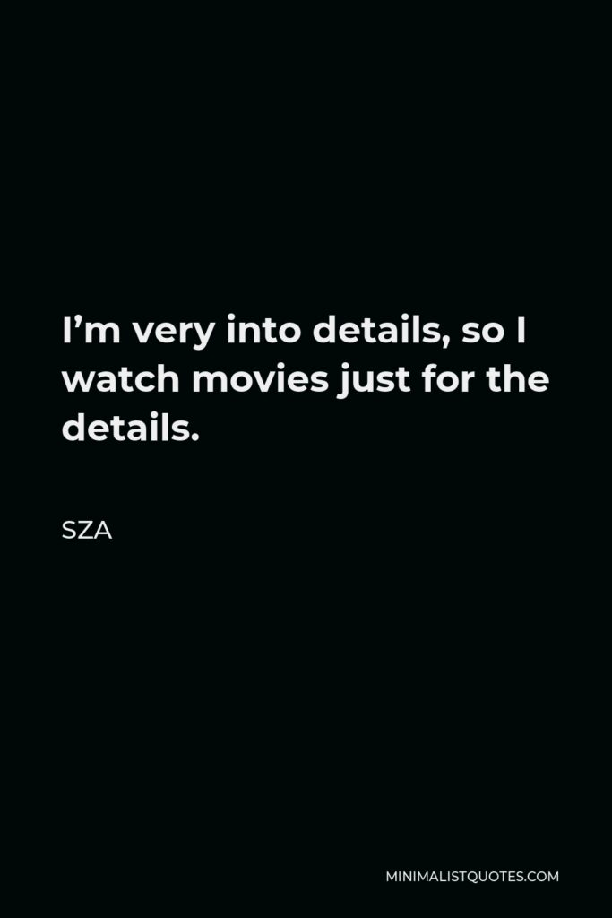SZA Quote - I'm very into details, so I watch movies just for the details.
