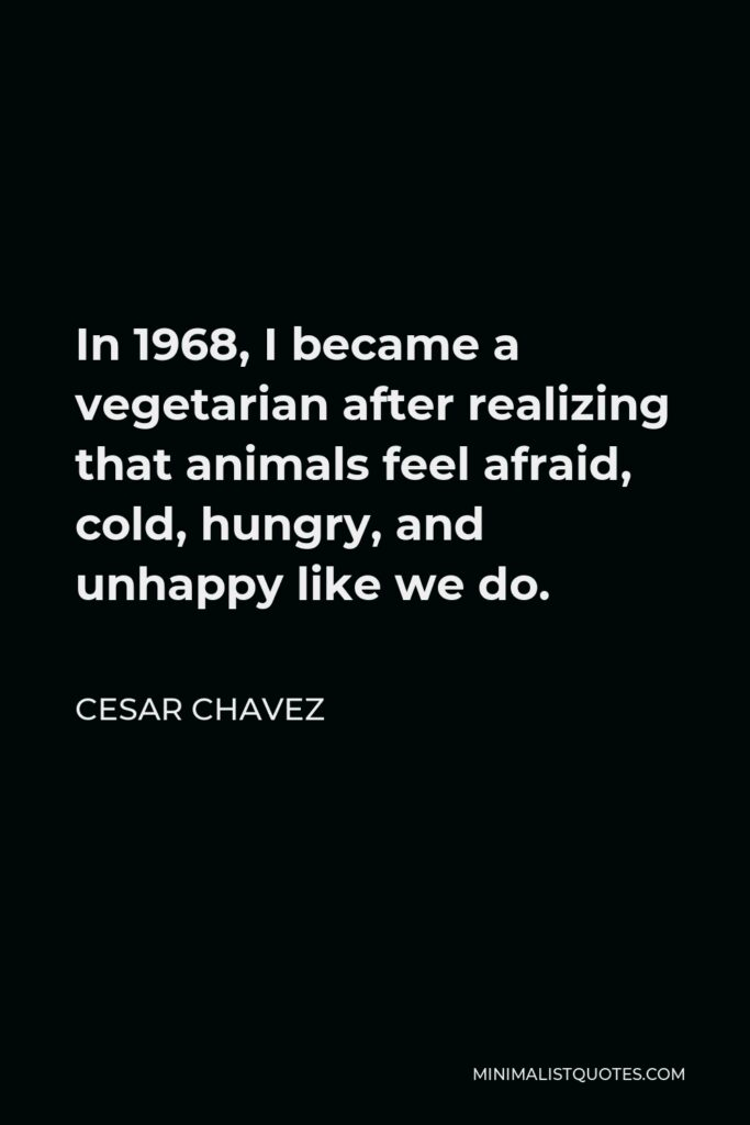 Cesar Chavez Quote - In 1968, I became a vegetarian after realizing that animals feel afraid, cold, hungry, and unhappy like we do.