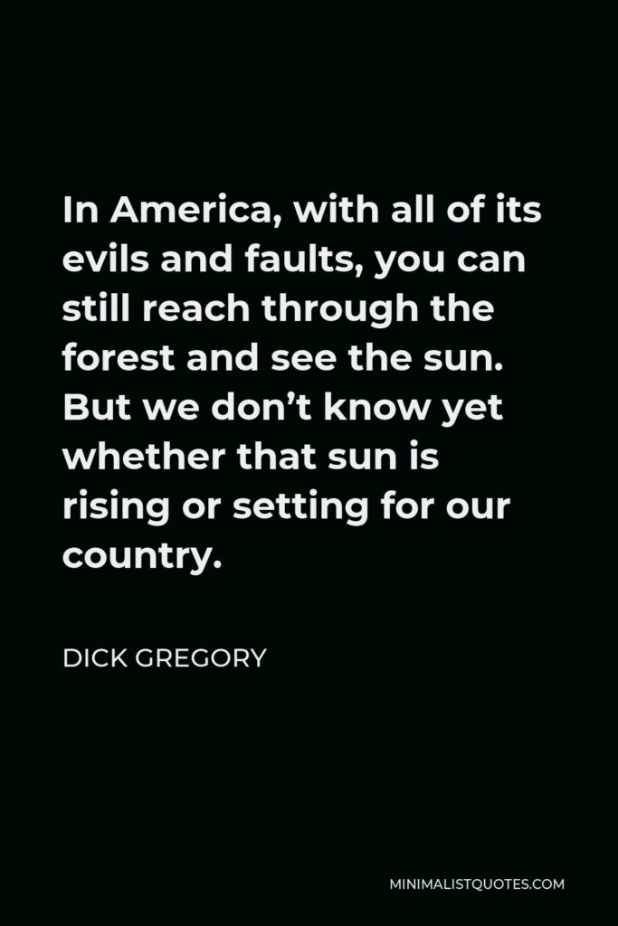 Dick Gregory Quote - In America, with all of its evils and faults, you can still reach through the forest and see the sun. But we don't know yet whether that sun is rising or setting for our country.