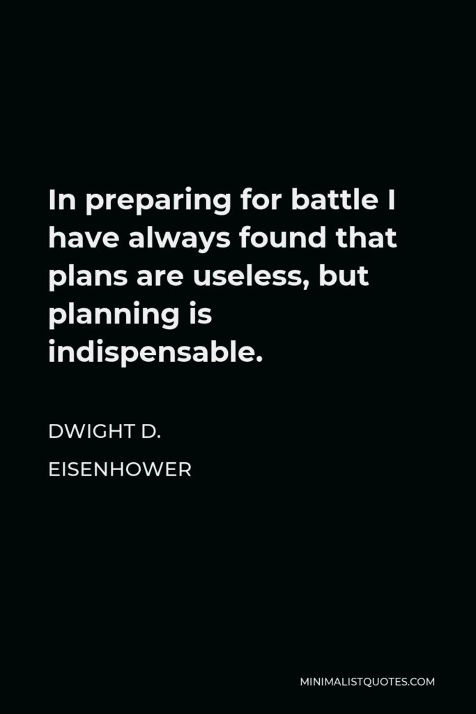 Dwight D. Eisenhower Quote - In preparing for battle I have always found that plans are useless, but planning is indispensable.