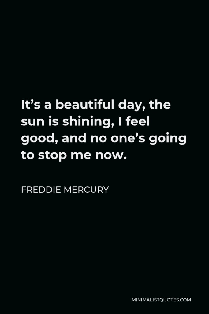 Freddie Mercury Quote - It's a beautiful day, the sun is shining, I feel good, and no one's going to stop me now.
