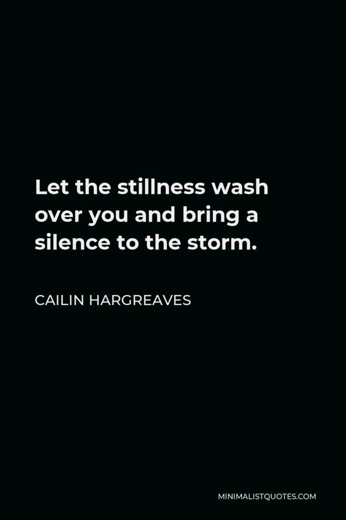 Cailin Hargreaves Quote - Let the stillness wash over you and bring a silence to the storm.