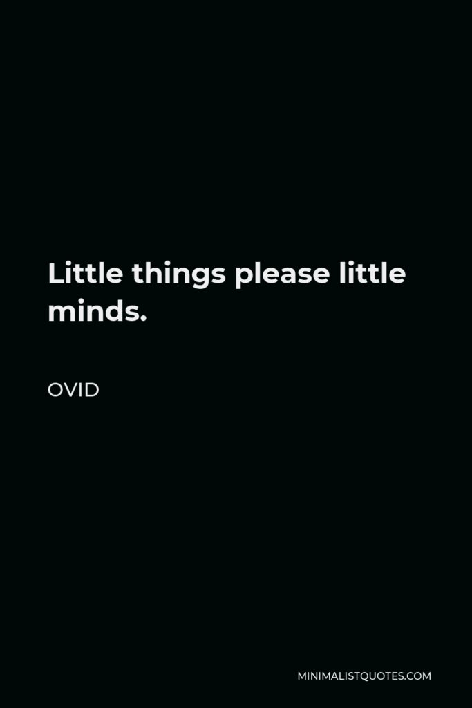 Ovid Quote - Little things please little minds.