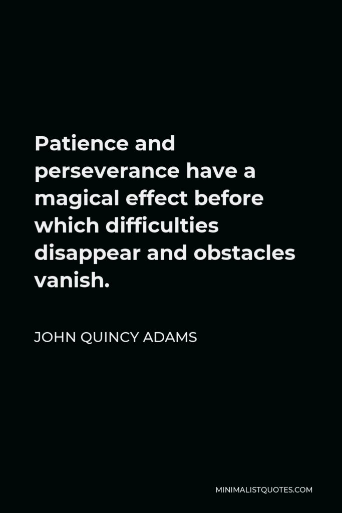 John Quincy Adams Quote - Patience and perseverance have a magical effect before which difficulties disappear and obstacles vanish.