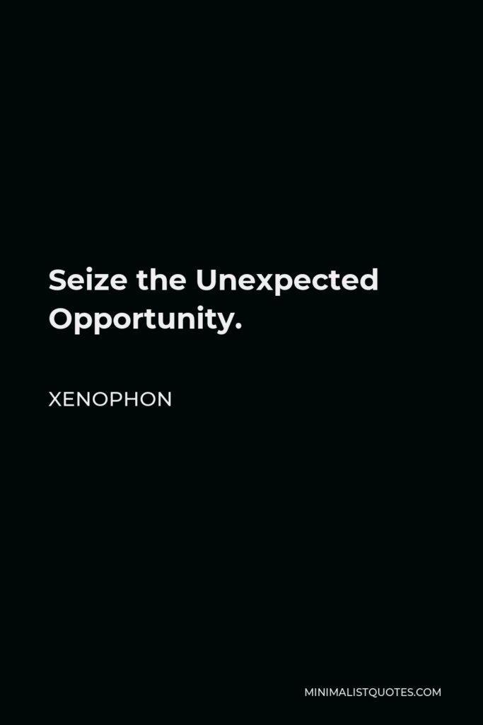 Xenophon Quote - Seize the Unexpected Opportunity.