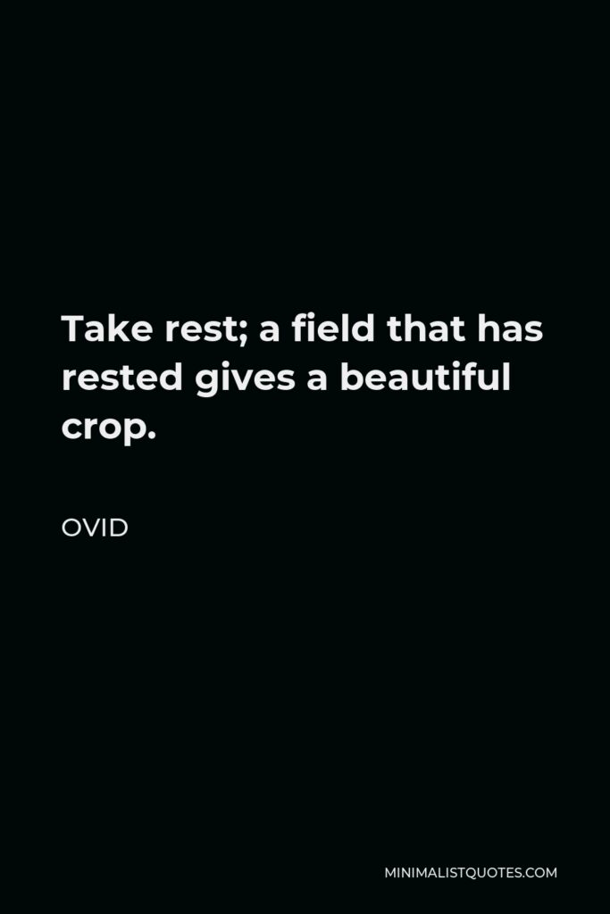 Ovid Quote - Take rest; a field that has rested gives a beautiful crop.