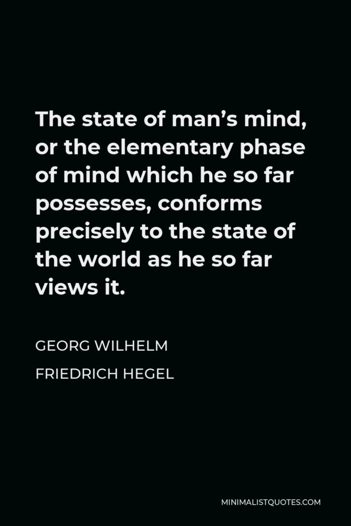 Georg Wilhelm Friedrich Hegel Quote - The state of man's mind, or the elementary phase of mind which he so far possesses, conforms precisely to the state of the world as he so far views it.
