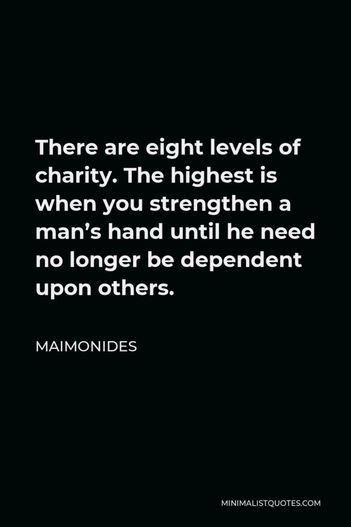 Maimonides Quote - There are eight levels of charity. The highest is when you strengthen a man's hand until he need no longer be dependent upon others.