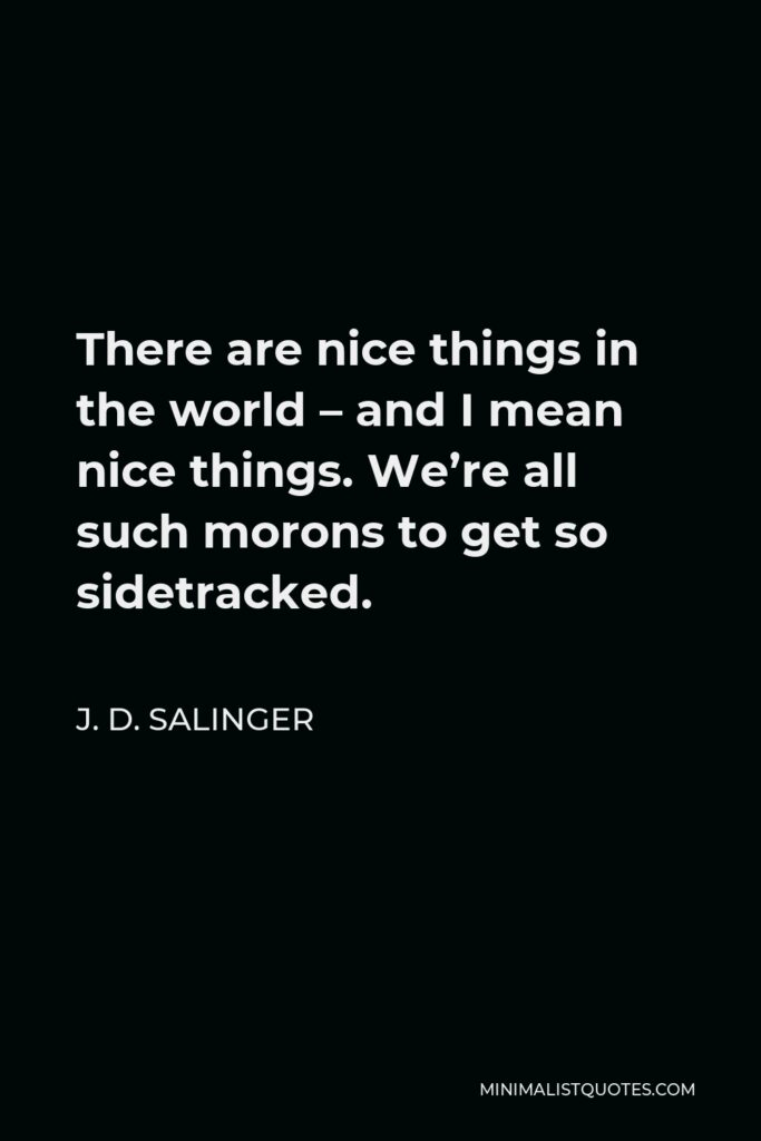 J. D. Salinger Quote - There are nice things in the world – and I mean nice things. We're all such morons to get so sidetracked.
