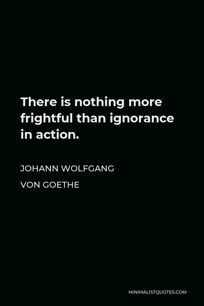 Johann Wolfgang von Goethe Quote - There is nothing more frightful than ignorance in action.