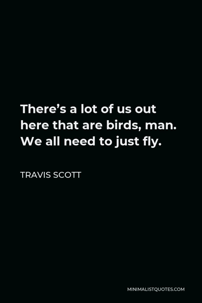 Travis Scott Quote - There's a lot of us out here that are birds, man. We all need to just fly.