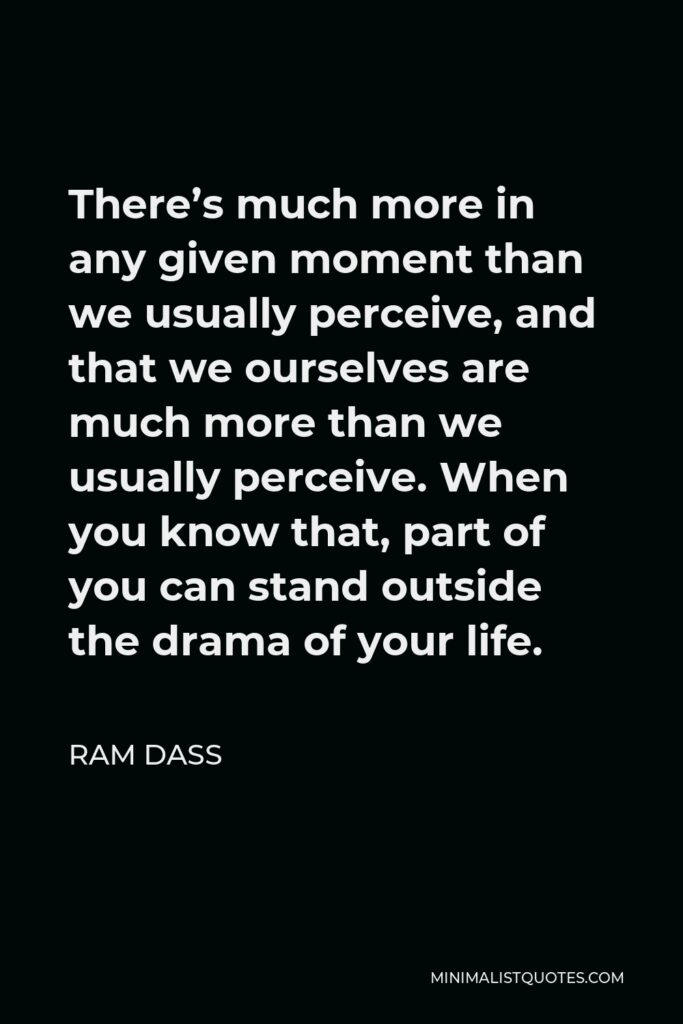 Ram Dass Quote - There's much more in any given moment than we usually perceive, and that we ourselves are much more than we usually perceive. When you know that, part of you can stand outside the drama of your life.