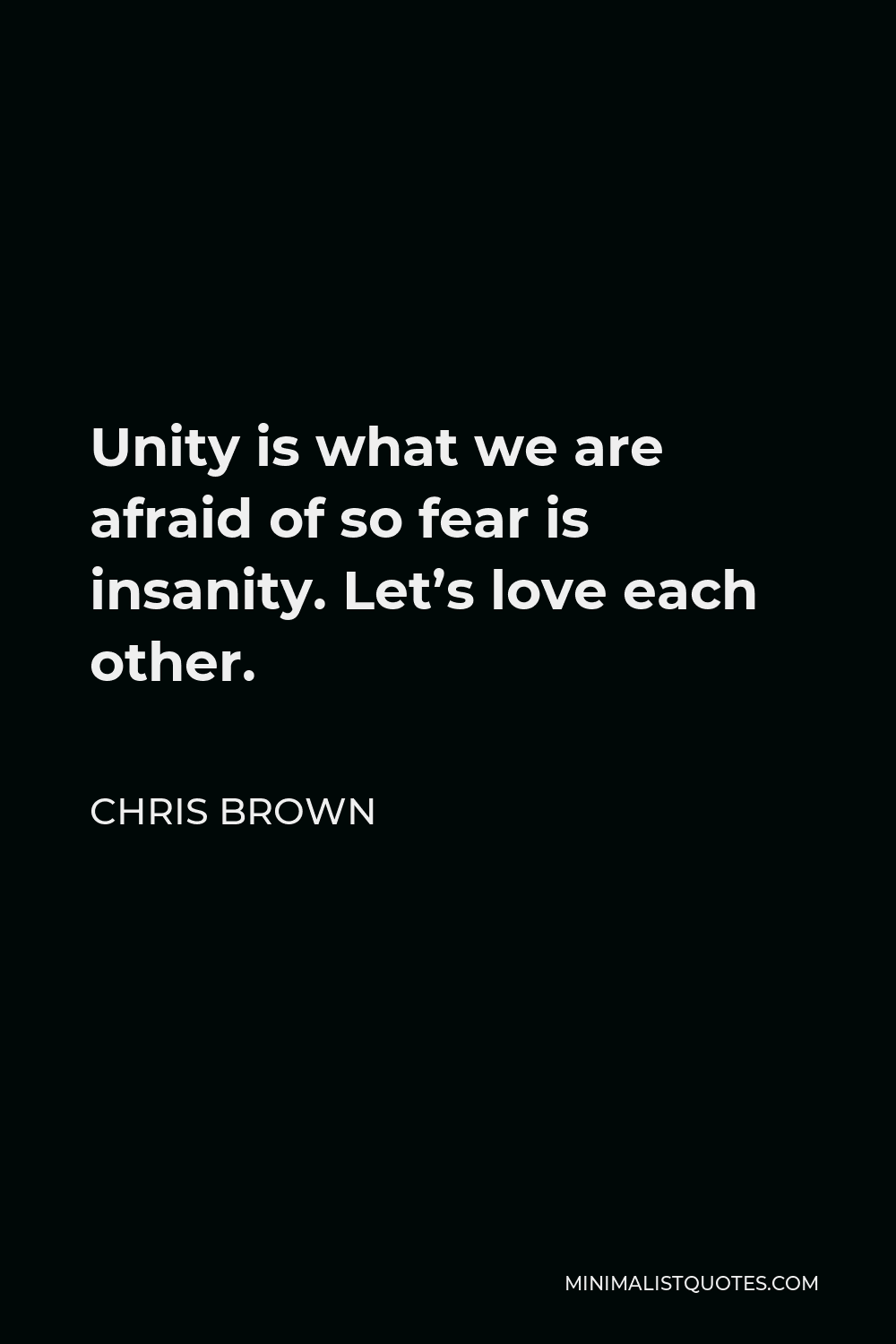Chris Brown Quote - Unity is what we are afraid of so fear is insanity. Let's love each other.