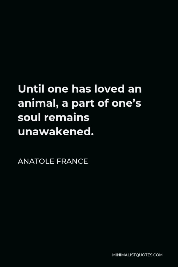 Anatole France Quote - Until one has loved an animal, a part of one's soul remains unawakened.