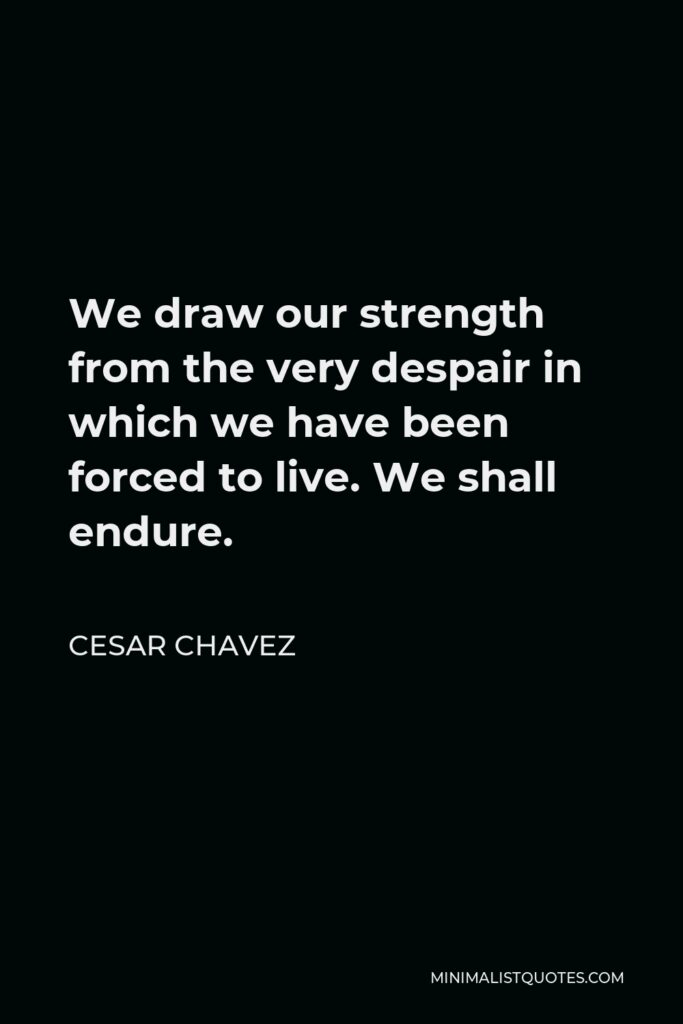 Cesar Chavez Quote - We draw our strength from the very despair in which we have been forced to live. We shall endure.
