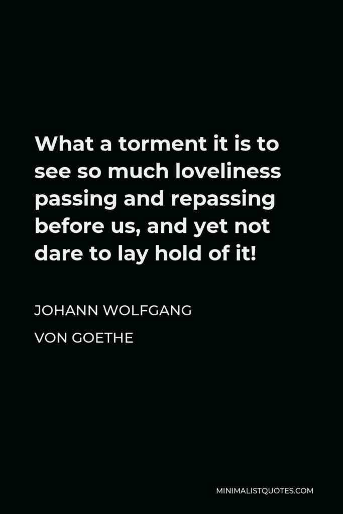Johann Wolfgang von Goethe Quote - What a torment it is to see so much loveliness passing and repassing before us, and yet not dare to lay hold of it!
