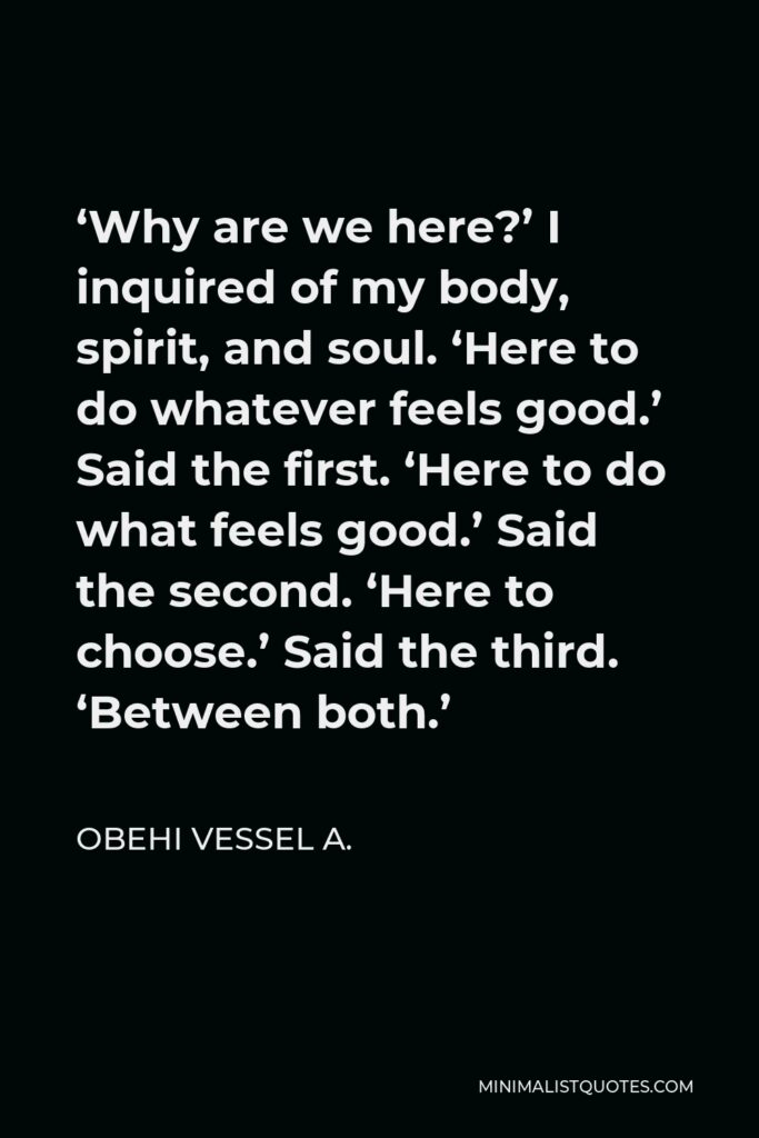 Obehi Vessel A. Quote - 'Why are we here?' I inquired of my body, spirit, and soul. 'Here to do whatever feels good.' Said the first. 'Here to do what feels good.' Said the second. 'Here to choose.' Said the third. 'Between both.'