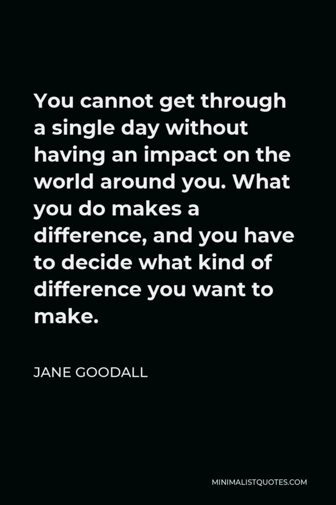 Jane Goodall Quote - You cannot get through a single day without having an impact on the world around you. What you do makes a difference, and you have to decide what kind of difference you want to make.