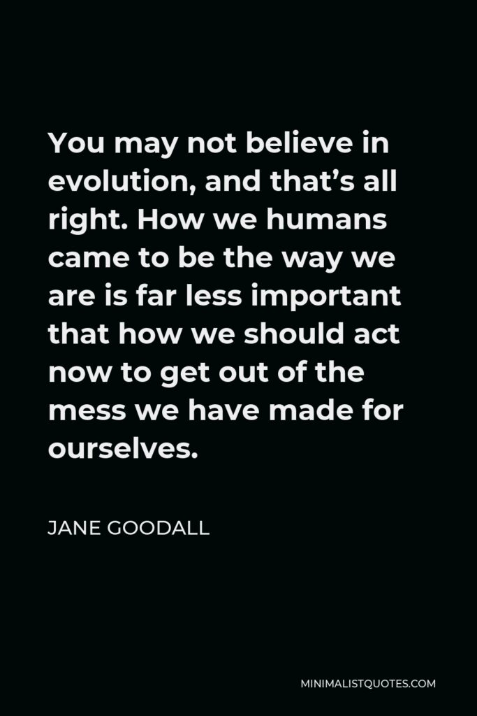 Jane Goodall Quote - You may not believe in evolution, and that's all right. How we humans came to be the way we are is far less important that how we should act now to get out of the mess we have made for ourselves.