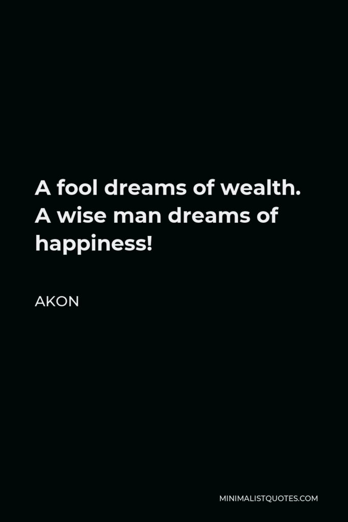 Akon Quote - A fool dreams of wealth. A wise man dreams of happiness!