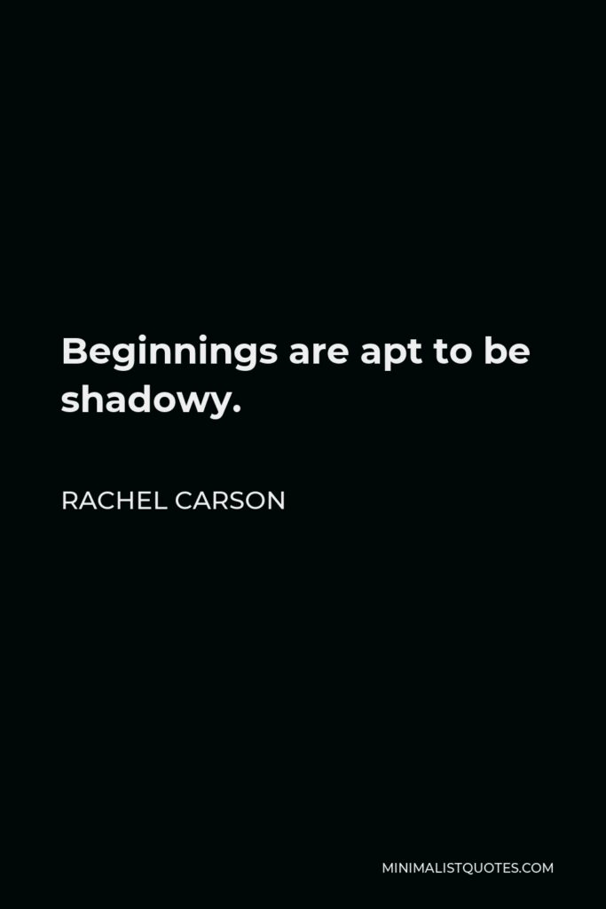 Rachel Carson Quote - Beginnings are apt to be shadowy.
