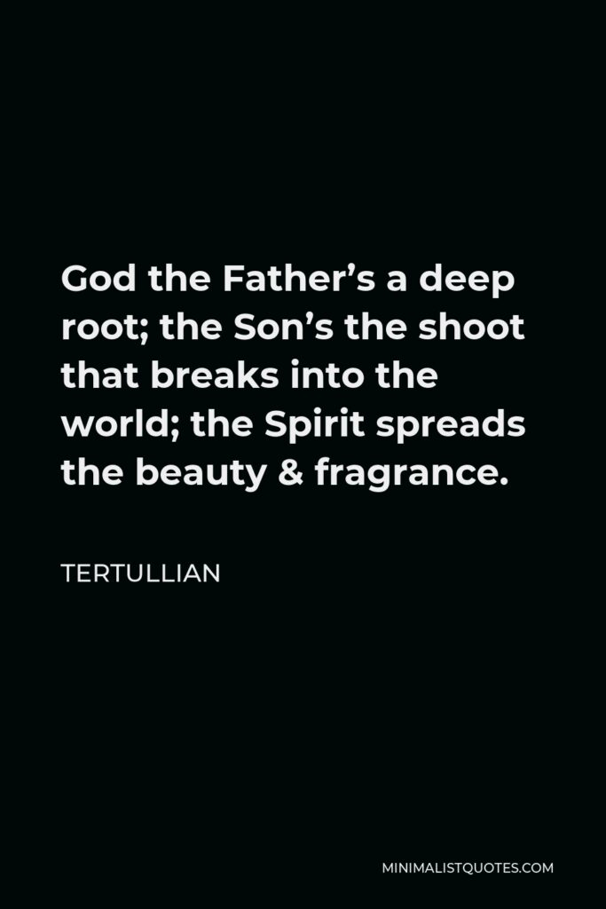 Tertullian Quote - God the Father's a deep root; the Son's the shoot that breaks into the world; the Spirit spreads the beauty & fragrance.
