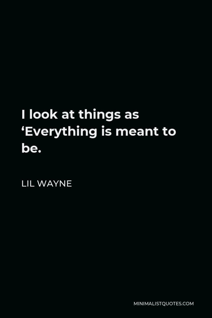 Lil Wayne Quote - I look at things as 'Everything is meant to be.