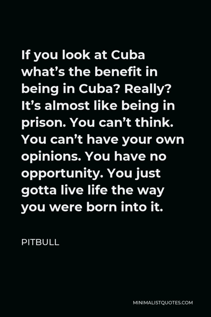 Pitbull Quote - If you look at Cuba what's the benefit in being in Cuba? Really? It's almost like being in prison. You can't think. You can't have your own opinions. You have no opportunity. You just gotta live life the way you were born into it.