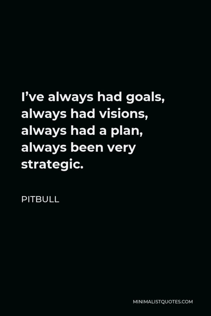 Pitbull Quote - I've always had goals, always had visions, always had a plan, always been very strategic.